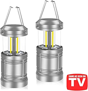 AuKvi LED Camping Lantern Lights with Magnetic Base - COB LED Technology 500 Lumens Collapsible Camping Lights - Power Outage Lantern Battery Powered for Emergency, Hurricane, Storms, Outage, 2 Pack