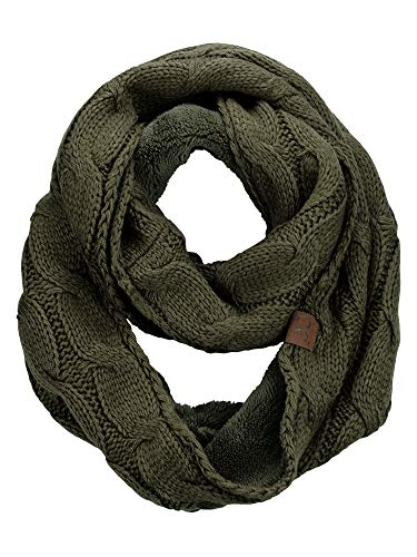 CC Women#039s Winter Cable Knit Sherpa Lined Warm Infinity Pullover Scarf Dark Olive