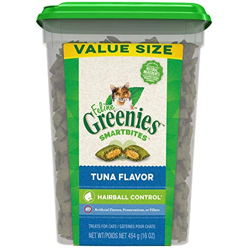 FELINE GREENIES SMARTBITES Hairball Control Crunchy and Soft Natural Cat Treats, Tuna Flavor, 16 oz. Tub