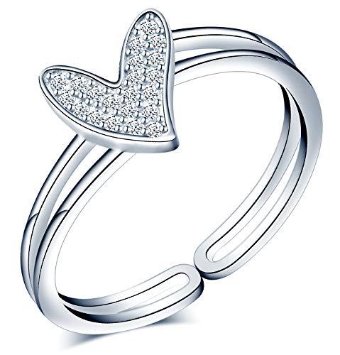 CPSLOVE Anillo de mujer niña, anillo de plata 925, Anillos de corazón lindo, circón con incrustaciones, anillo abierto, tamaño ajustable, anillo bodas, Circunferencia de dedo adecuada:48,5-57mm