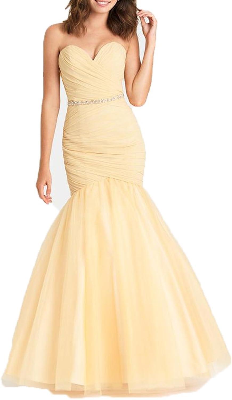 Ellenhouse Women's Long Mermaid Tulle Beaded Evening Prom Party Dress EL250