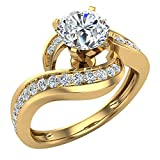 Intertwined Diamond Engagement Ring Solitaire Loop 14k Yellow Gold 1.00 ct