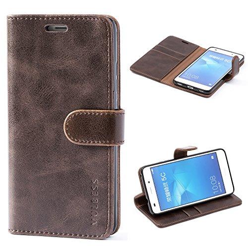 Mulbess Handyhülle für Honor 5C Hülle, Leder Flip Case Schutzhülle für Huawei Honor 5C Tasche, Vintage Braun