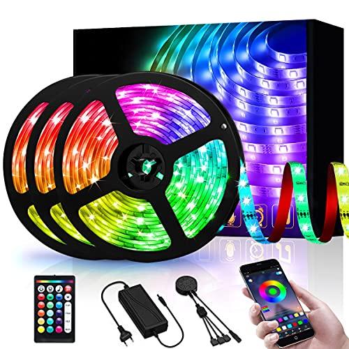 Tira LED 15M, Tiras de Luz LED Bluetooth RGB 5050 Control Remoto de 24 Teclas Cambio con Música APP Controlada 450 Led 5A 12V Tiras LED Multicolor para Hogar Fiesta Dormitorio Cocina (3X5m)