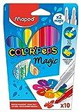 Maped Color'Peps Feutres pour Coloriage Magiques pour Enfant - Encre qui Change de Couleur – 10 Feutres Assortis dont 2 magiques