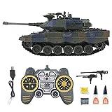 Modèle de Tank RC, Char de Combat Leopard 2 RC Tank Télécommande Électrique Jouet avec Simulation Sonore Rotation Tourelle 320 Degrés