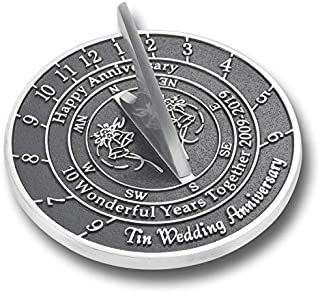The Metal Foundry 10th Tin Wedding Anniversary 2019 Sundial Gift Idea is A Great Present for Him, for Her Or for A Couple to Celebrate 10 Years of Marriage