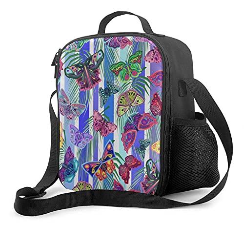 Bolsa de almuerzo con aislamiento para preparación de comidas, coloridas mariposas en rayas, enfriador térmico, lonchera, pequeña, bonita, para el almuerzo escolar, bolsas de asas, cremallera fresca,