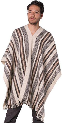 Gamboa - Alpaka Poncho für Herren - V-Ausschnitt - Grau und Weiß Gestreiftes Design