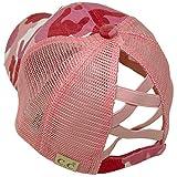 C.C Kids 2-7 Ponytail Messy Buns Ponycaps Baseball Visor Cap Hat (Criss Cross Distressed Camo Pink)