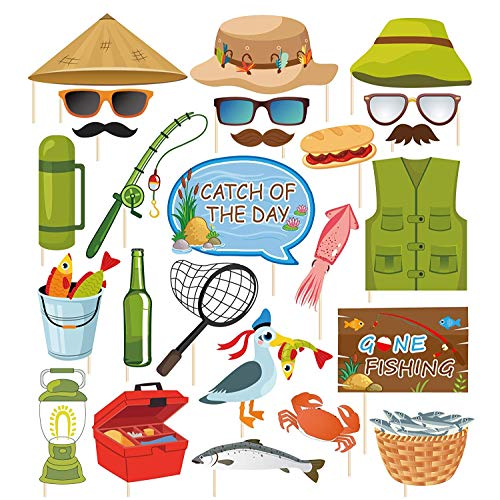 Kristin Paradise 25Pcs Gone Fishing Photo Booth Props with Stick, O-Fish-Ally Selfie Props, Little Fisherman Party Supplies, The Big One Birthday Theme Backdrop Decorations, Camping 1st Baby Shower