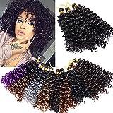 3 Paquete Extensiones Trenzas Africanas Crochet pelo 20cm Afro Curly Water Wave Trenzas Marlybob Trenzado Pelo Ombre Extensiones de Pelo Sintético Twist Braids Hair Marron oscuro