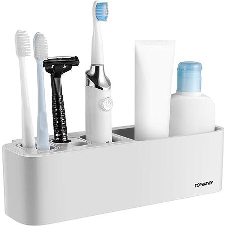 gris y blanco soporte adhesivo para cepillo de dientes el/éctrico montado en la pared Saicowordist Soporte de cepillo de dientes el/éctrico multifuncional para cepillo de dientes el/éctrico