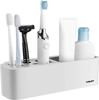 TOPBATHY 1ピース歯ブラシホルダー壁掛けなし掘削収納オーガナイザー複数歯ブラシラック用浴室