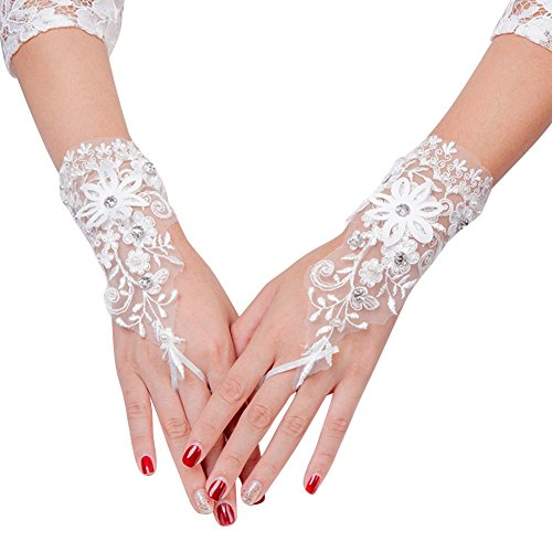 Women's Girls' Bridal Gloves Crystals Flower Lace Fingerless Gloves for Wedding Party Prom Brides Accessory …