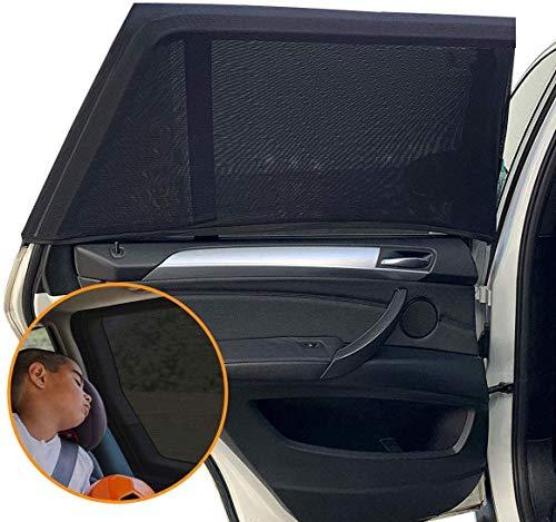 Funmo 2 Stück Sonnenschutz Auto, Sonnenschutz Auto Baby mit UV Schutz Sonnenschutz Auto,Sonnenschutzrollo Auto für Seitenfenster Meshmaterial Schützt Baby, Kinder & Haustiere