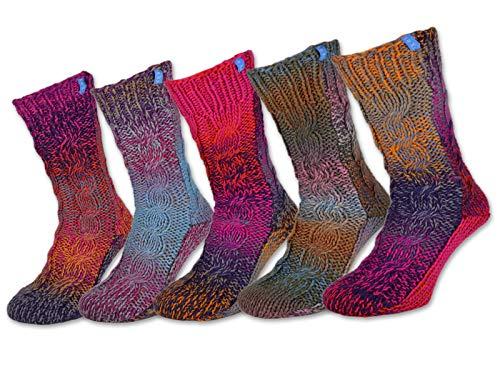 sockenkauf24 1 Paar ABS Socken - jedes Paar ein Unikat - warme Damensocken mit Anti Rutsch Noppen - 71500 (39-42)