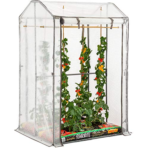 Christow Tomato Greenhouse With Reinforced Cover & Frame Garden Growhouse (Double Growbag)
