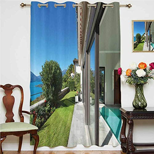 Travel Decor Blackout Curtain Nice Terrace with Green Lawn and Lake View Residential House Natural Outdoors Thermal Backing Sliding Glass Door Drape ,Single Panel 63x84 inch,for Glass Door Multicolor