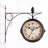 luoem Reloj de Estación de Tren doble cara Reloj de pared retro antiguo