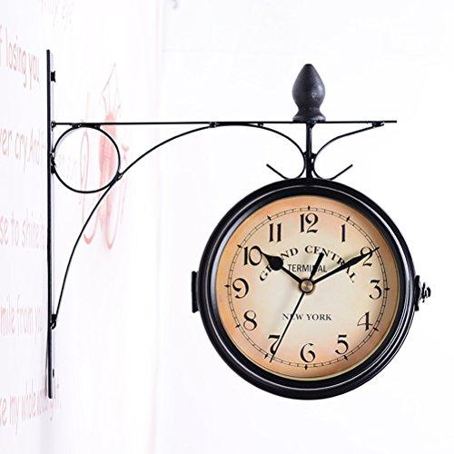 luoem Reloj de Estación de Tren doble cara Reloj de pared r