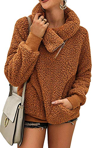 ZESICA Women's Turtleneck Long Sleeve Oblique Zipper Fuzzy Fleece Pullover Casual Loose Sweatshirt Coat with Pockets Khaki