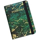 Supgear Porta Passaporto da Viaggio Portafoglio Custodia Passaporto in Pelle Porta per Passaporto Carta di Credito ID di Viaggio per le Uomo Donne (Marmo Verde)