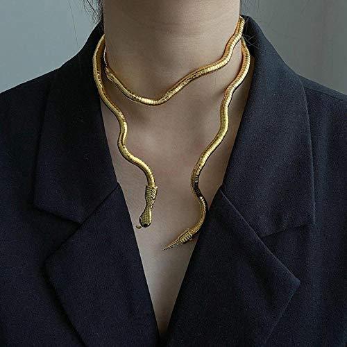 Punk Cool Multicapa Metal Alloy Gold Silver Color Serpiente Collar Y Pulsera para Mujeres Hombres Joyería De Personalidad Creativa-Dorado