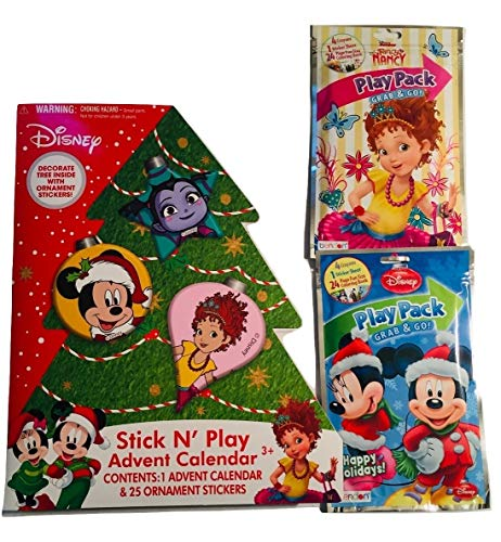 Fancy Nancy Vampirina Puppy Pals Mickey Mouse Stick N' Play Adventskalender Geschenkset – (1) Stick N' Play Adventskalender und (2) Grab and Go Play Packs (Fancy Nancy and Mickey Mouse) – 3 Stück