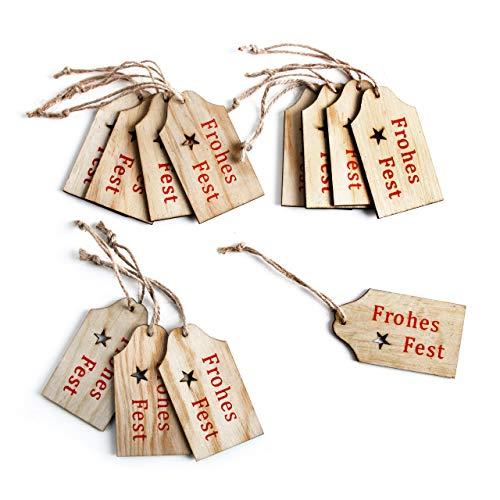 Logbuch-Verlag 12 rot Natur FROHES FEST Holz Geschenkanhänger Weihnachten Verpackung 4,5 x 8 cm weihnachtlich Paket-Anhänger give-Away Verzierung verpacken