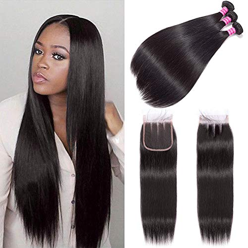 (12' 12' 12') Brazilian Straight Hair Bundles with Lace Closure 4x4 Three Part 8 Inch Bob Straight Human Hair Wigs 100 % Unprocessed Brazilian Virgin Human Hair Extension Natural Color