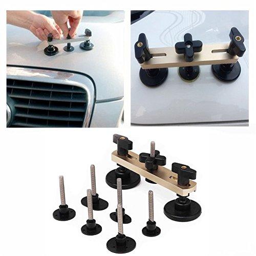 GS Kit de reparación de abolladuras de coche, juego de 7 piezas de extractor de puente ajustable Pops A Dent herramientas de eliminación de pegamento extractor de abolladuras