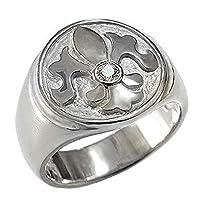 真珠の杜 ダイヤモンド シルバー sv925 ユリの紋章 リリィ リング メンズ 17.5号