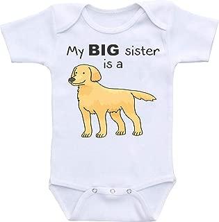 My Big Sister is a Golden Retriever Funny Onesie Romper Bodysuit