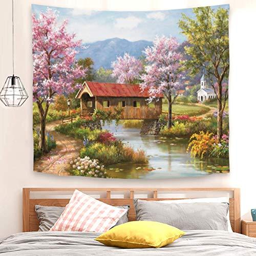 Tapiz de puente en primavera para colgar en la pared para decoración del dormitorio (150 x 200 cm)