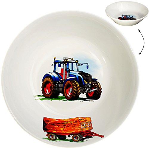 alles-meine.de GmbH großer Suppenteller / Müslischale / hoher Teller -  Traktor - Trecker mit Anhänger - Bauernhof  - Ø 18,5 cm / 500 ml - aus Porzellan / Keramik - tiefer Früh..