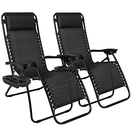 Chillax - Juego de 2 sillones reclinables Ajustables de Gravedad Cero para Patio, Piscina con portavasos, Color Negro