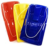 Matty's Toy Stop 26' Heavy Duty Plastic Snow Sled Toboggan with Tow Rope for Kids Red, Yellow & Blue Gift Set Bundle - 3 Pack