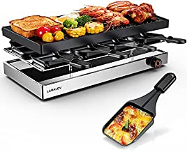 Laralov Raclette Table Grill, Smokeless Grill Indoor Electric Grill and Griddle Plate,1500W Korean BBQ Grill for 8 people Family Gathering Non-Stick Surface,Temperature Control & Dishwasher Safe