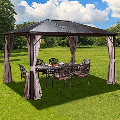 WSN Techo rígido de policarbonato Gazebo, Estructura de la Cabina Cortinas de Aluminio con Red, para el jardín, Patio al Aire Libre 10'x12'