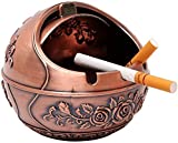 WQF Cenicero Redondo Cenicero Vintage a Prueba de Viento Retro Metal Rose Patrón Cenicero de Mesa Titular de la Ceniza del Cigarrillo