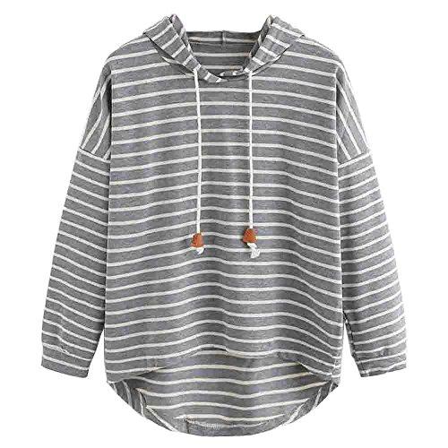 VJGOAL Mujer otoño Plus Size Moda Raya con Bolsillos Casual Sweatshirt Manga Larga Crop Jumper Pullover Tops (Gris, S)