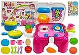 BSD Kinder Rollenspiele, Tragbare Spielzeugkche fr Kinder, Kchen Spielset, Kleine Kinderkche mit Zubehr im Koffer - Rosa