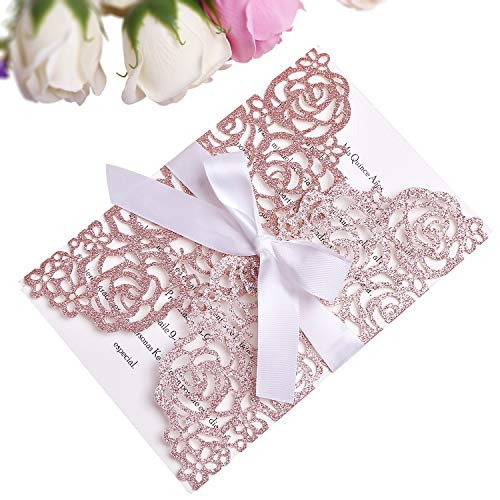PONATIA 25PCS 250GSM 5.12 x 7.1'' Glitter Wedding Invitations Cards Laser Cut Hollow Rose With White Ribbons For Bridal Shower Engagement Birthday Graduation (Rose Gold Glitter)