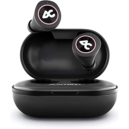 Auxtron AirBolt 505 True Wireless (TWS) Earbuds - Bluetooth 5.0, Full Touch Earphones, IPX5 Water Resistant, HD Stereo Sound, High Bass, InBuilt MIC, Upto 36 Hours Playtime with Charging Case (Pink + Black)