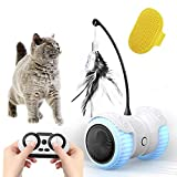 Cat Toys for Indoor Cats, 14 in 1 Smart Robotic Interactive Cat Toy, Auto/RC 2 Mode, Kitten Approved Toy with Bulit-in Active Program,Feather,Corful Light,Catnip,Bells - Hours Fun for Kitty and Human