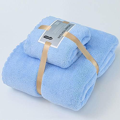 MQQM Juego de 4 Toallas Ultra Suaves,Conjunto de Toallas para el hogar, Secado rápido Sin Toalla de baño de Cabello-Azul_34 * 74cm + 70 * 140 cm,6 Toallas de Gimnasio