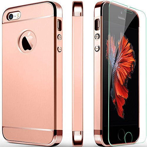 iPhone 5S Case, iPhone 5 Case, iPhone SE Case, COOLQO 3in1 Ultra-Thin Hard Matte Finish Plastic [Tempered Glass Screen Protector] Shockproof Electroplate Cover Skin for Apple iPhone 5S_Rose Gold