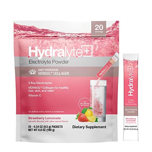 Hydralyte Plus Collagen, VERISOL Collagen Peptides for Healthy Hair, Skin and Nails, Vitamin C Plus 5 Key Electrolytes for Hydration, Strawberry Lemonade, 20 Ct