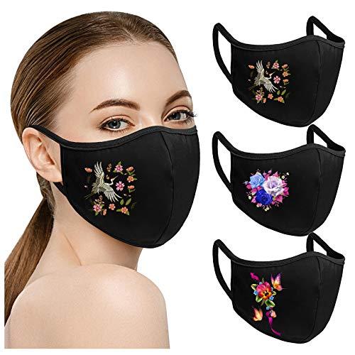 adulte mode fleurs imprimer facial réutilisable extérieur chaud respirant lavable s en coton 3PC AFFGEQA